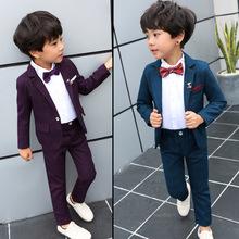 秋冬季儿童西装三件套 韩版新款男童西服套装花童礼服童装演出服