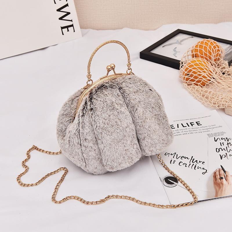 冬天小包包女2018新款可爱毛绒绒斜挎包甜美韩版小清新少女链条包