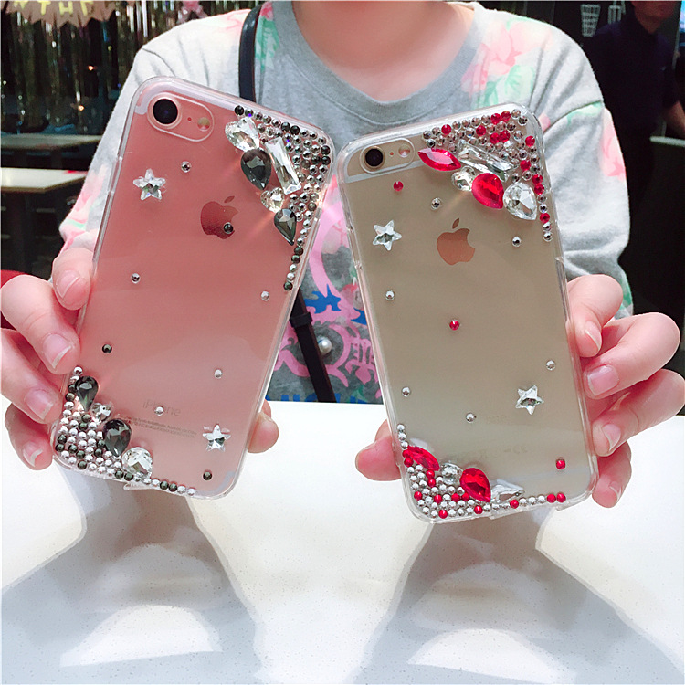 Europe and America noble luxury rhinestone transparent acrylic iPhoneXS 8plus drop mobile phone case soft cover S9plus
