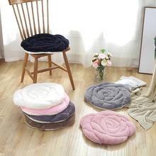出口長毛絨簡約玫瑰毛絨坐墊日式椅子墊防滑飄窗坐墊餐椅墊蒲團