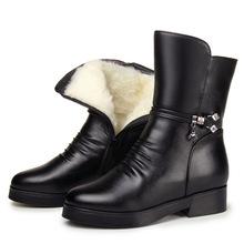 妈妈棉鞋冬季羊毛中年棉靴真皮平跟全皮中老年人皮鞋女士中筒靴子