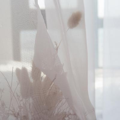 北欧简约现代日系纯白色窗纱 薄纱白纱 卧室客厅阳台飘窗纱帘