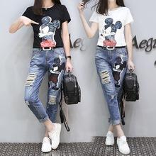 2018夏装新款大码女装胖mm减龄洋气套装卡通印花短袖牛仔裤两件套