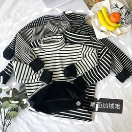 Real shoot slim, high collar, long sleeved stripes, thickened bottoms 1226100