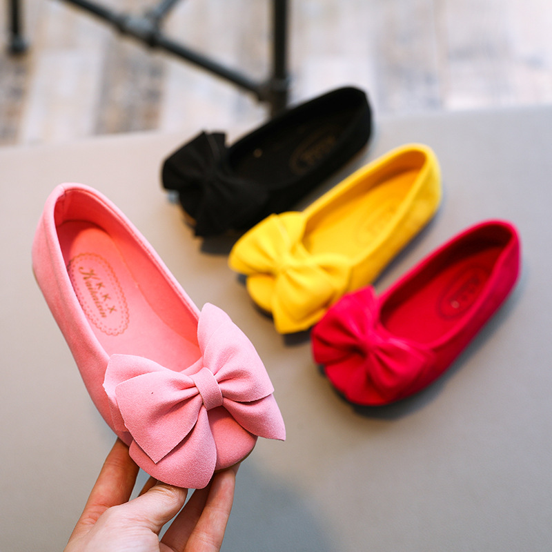 2019 New Solid Color Bow Princess Shoes Girls Fashion Trend Single Shoes Comfortable Wear A Pedal Shoes