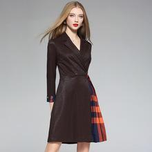 2018秋冬季新款中长款亮丝针织拼接压褶裙系带显瘦连衣裙一件代发