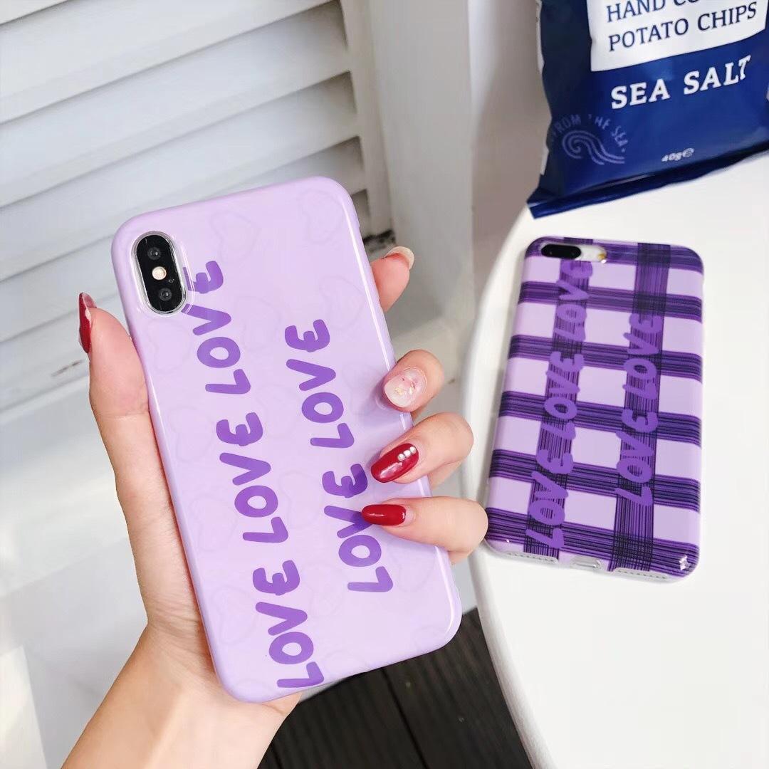 Korea ins with the same paragraph purple plaid love iPhoneX mobile phone shell imd apple 8 creative English tpu mobile phone