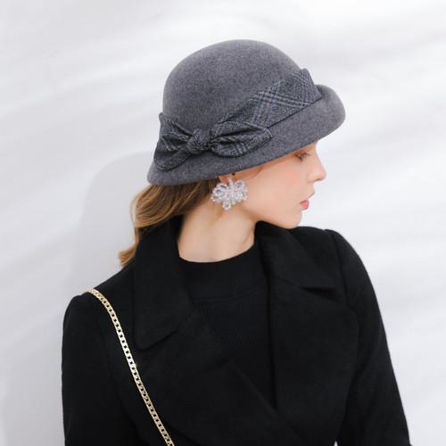 Party hats Fedoras hats for women Hat female Beret female retro Hat Wool bud Hat Lady Black Hat felt hat