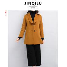 秋冬季新款时尚双面呢大衣女 2018女士中长款澳毛呢外套一件代发