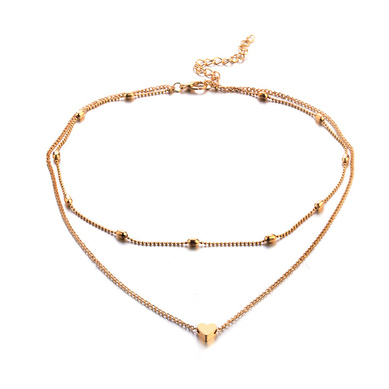 Street beat peach heart multi-layer clavicle necklace necklace NHPV175187