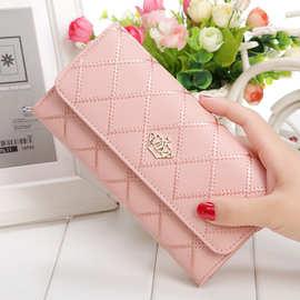 新款時尚韓版繡花菱格女士長款錢包皇冠多卡位手拿皮夾特價批發