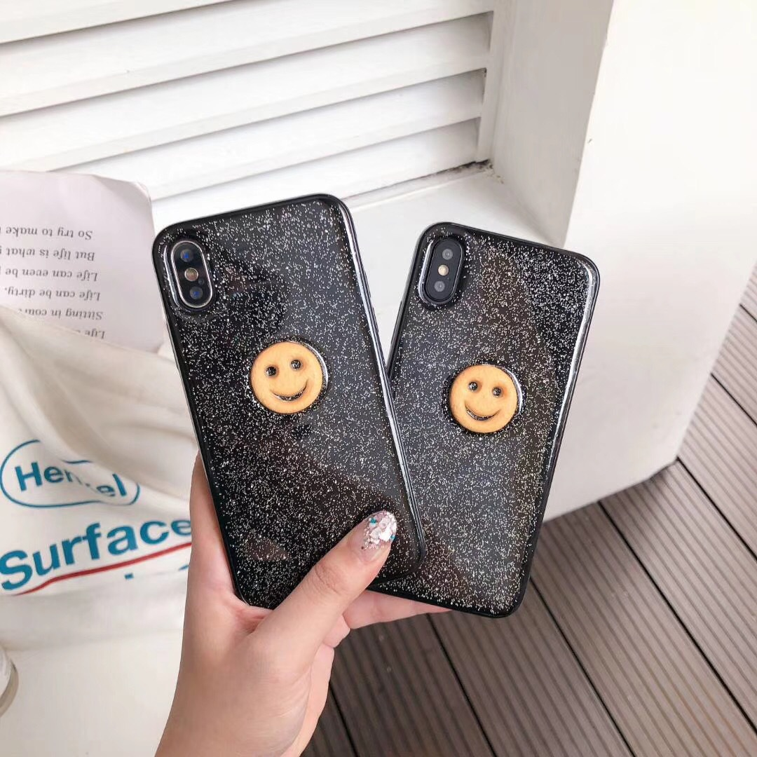 South Korea ins with the same paragraph smiley flash powder iPhoneX mobile phone shell imd apple 8 creative tpu mobile phone case