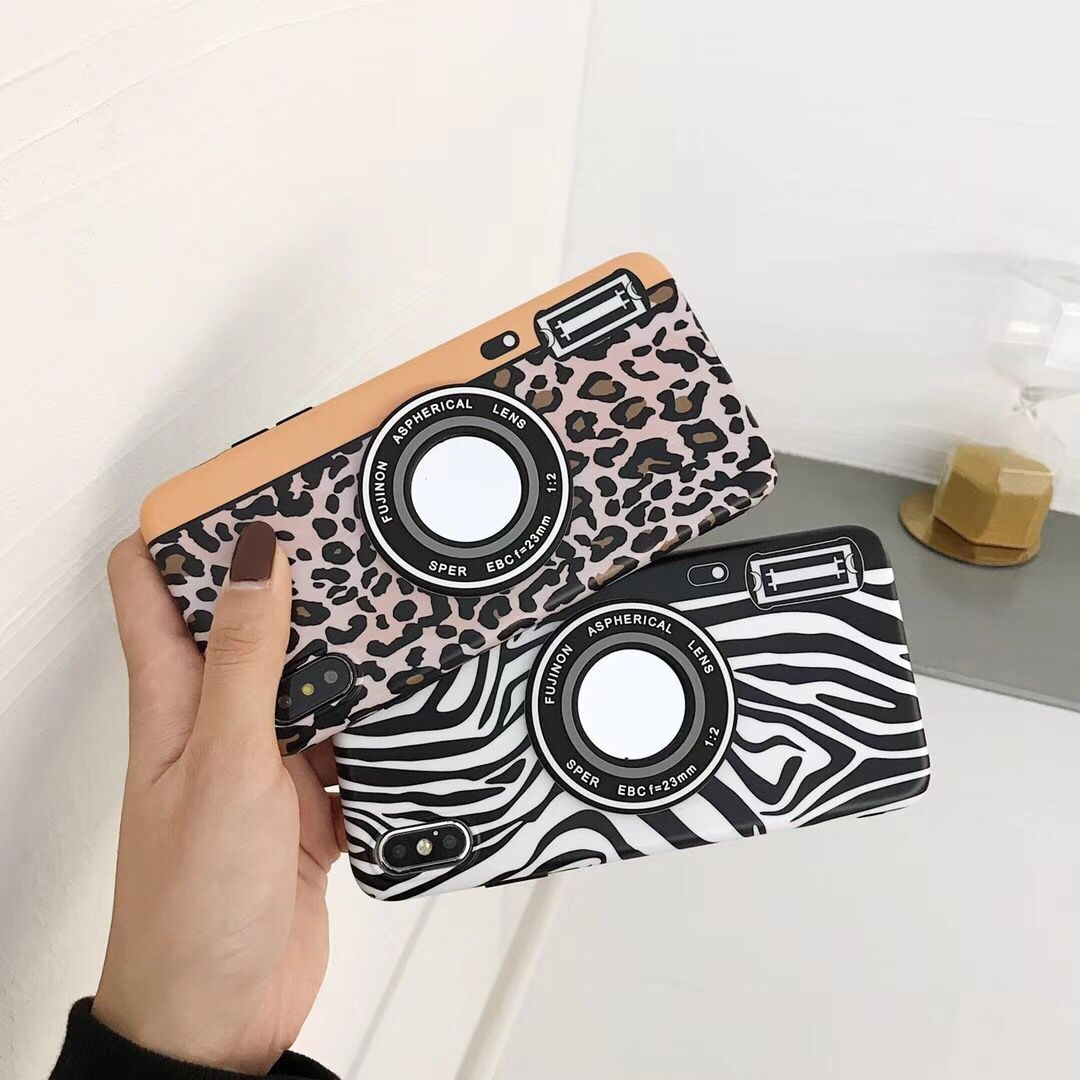 Creative Leopard Mirror Camera Phone Case For iPhoneXS MAX Apple 8/6s/7P Case Soft Female