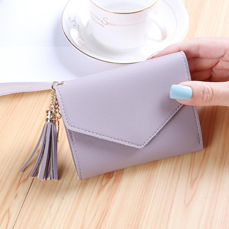 新款时尚小钱包女短款日韩版可爱小清新流苏迷你学生女士钱包钱夹
