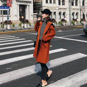 【朵维思】2018秋冬女装新款中长款收腰连帽长袖毛呢外套女F5247