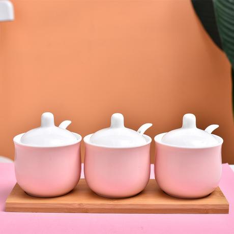 Nhà máy trực tiếp chai gốm Macaron ba mảnh gốm gia vị chai lọ nhà bếp gia vị tùy Bắc Âu Gia vị