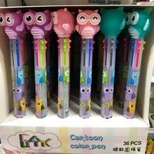 圣诞儿童创意文具6色卡通造型圆珠笔0.5mm中油笔多功能彩色书写笔