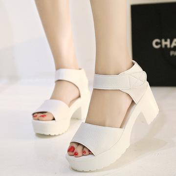 夏季新款韩版潮白色松糕女凉鞋坡跟厚底粗跟女鞋魔术贴百搭学生鞋