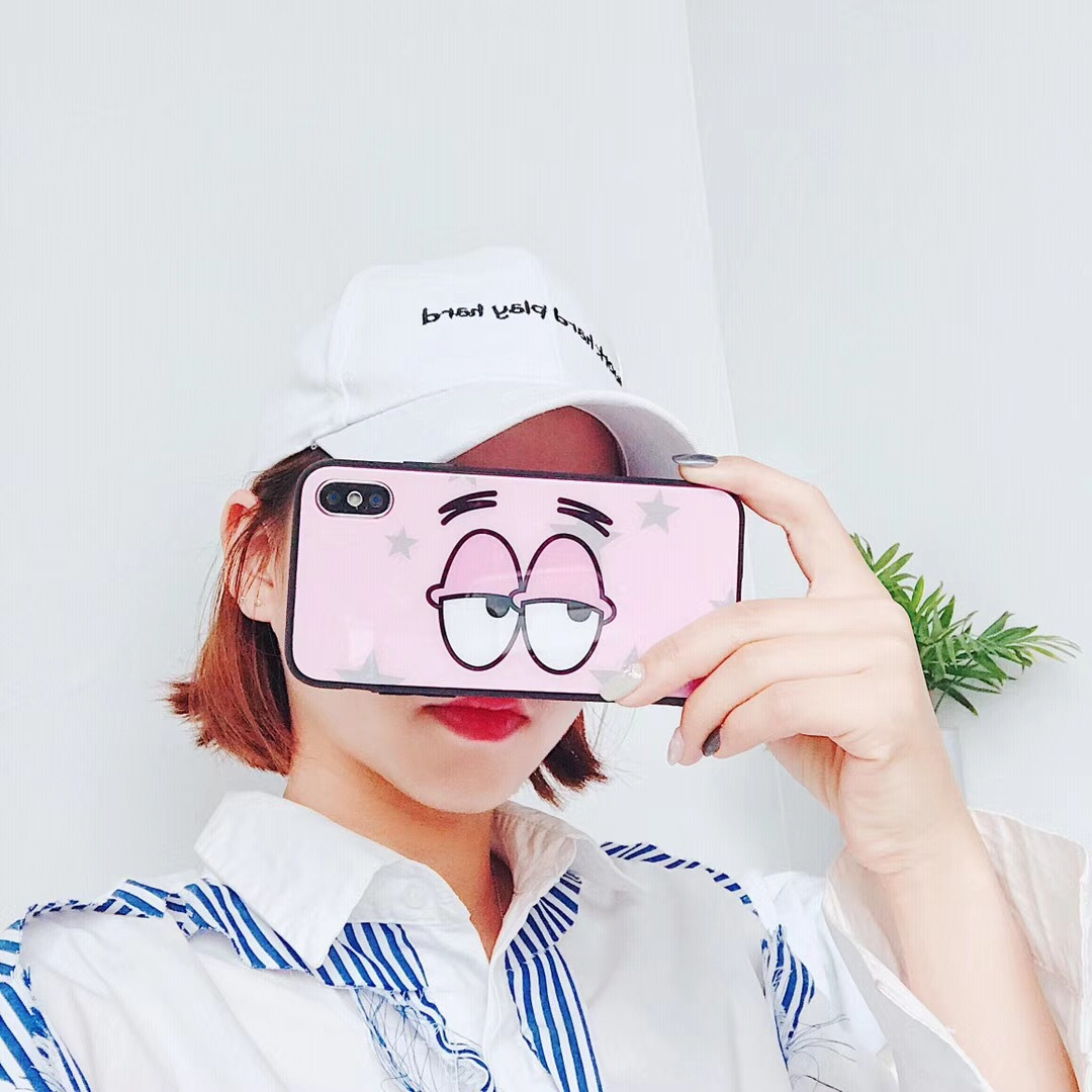 Korea ins with the big eyes naughty leopard iPhoneX mobile phone shell imd apple 8p sponge baby glass shell