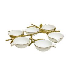 捷美現代陶瓷配銅干果碗 創意家居餐桌日用六頭糖果碗工藝品擺件