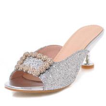 小香拖鞋方扣水钻印花一字型女拖鞋大码高跟40-43外贸长年生产829