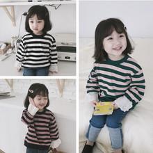 儿童卫衣 麻棉条纹 宽松落肩版 花边袖条纹女童卫衣