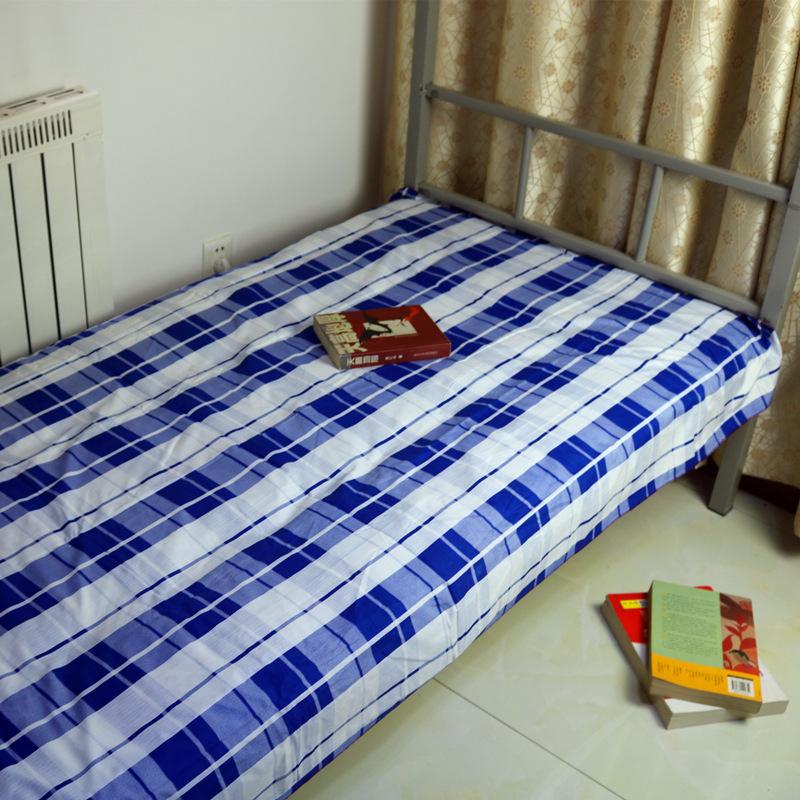 厂家直销?#26635;?#26684;床单学生宿舍上下铺单人钻石绒三件套纯棉床单单件