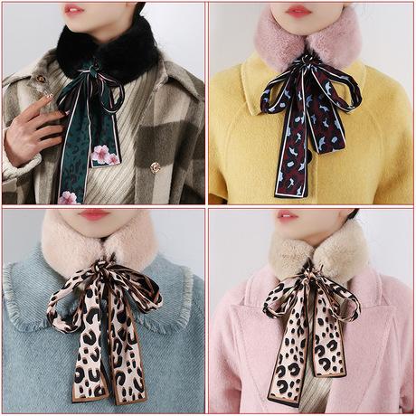 Lắc cùng một chiếc khăn nữ phiên bản Hàn Quốc của mùa đông sang trọng da báo mới hai màu hoang dã giả cổ áo cổ áo lông ruy băng cổ áo
