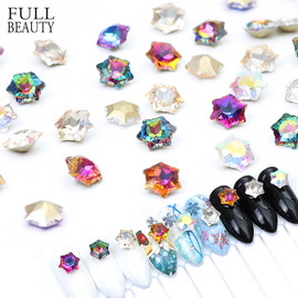 New manicure jewelry magic color hexagonal star diamond translucent glass drill nail shop nail special trendy ornaments