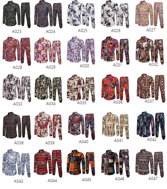 EBay express Amazon spring and autumn new products men's foreign trade long sleeve flower shirt national style printed Pants Set