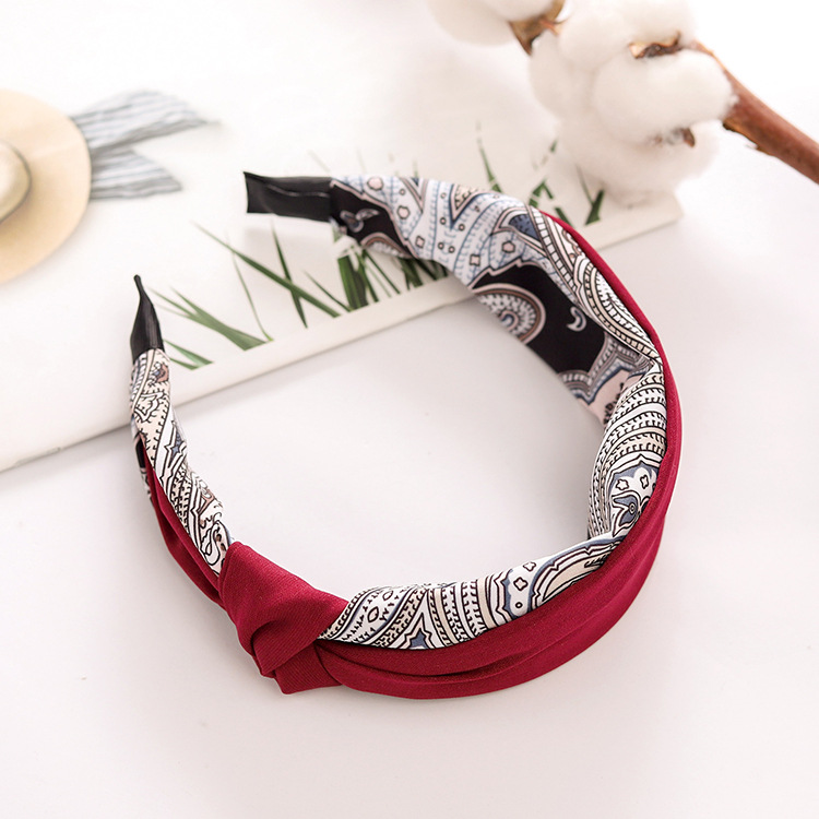 Headband new hair accessories floral side knot knotted knot color wide side headband simple head buckle NHRH173161