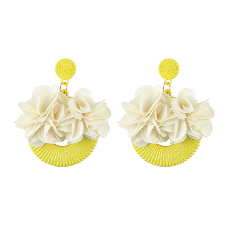 Alloy Fashion Flowers earring  (yellow) NHJQ10625-yellow