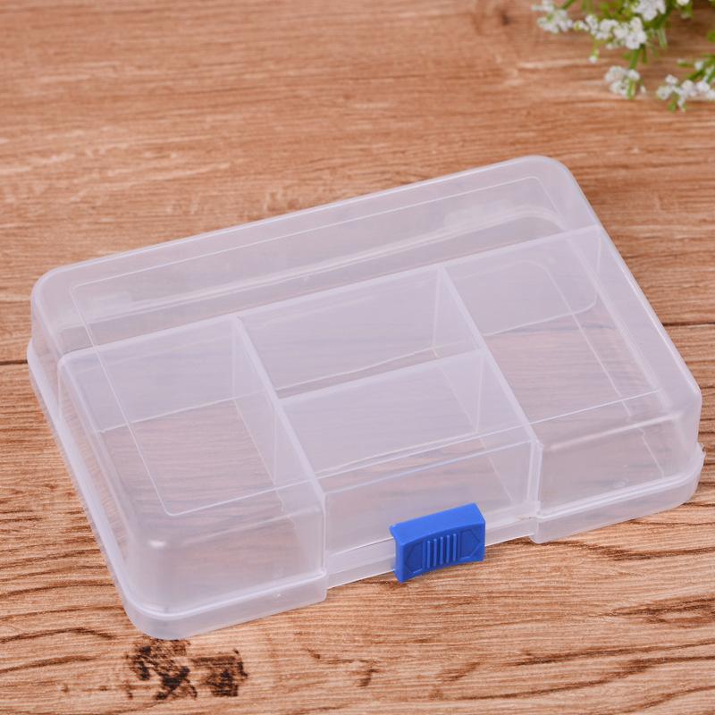厂家直销pp划扣五格不可拆塑料盒 长放形透明塑料包装盒子批发