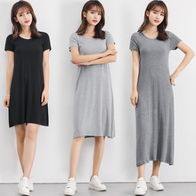 连衣裙夏季新款2020韩版莫代尔短袖大码长裙 宽松内搭短袖打底裙