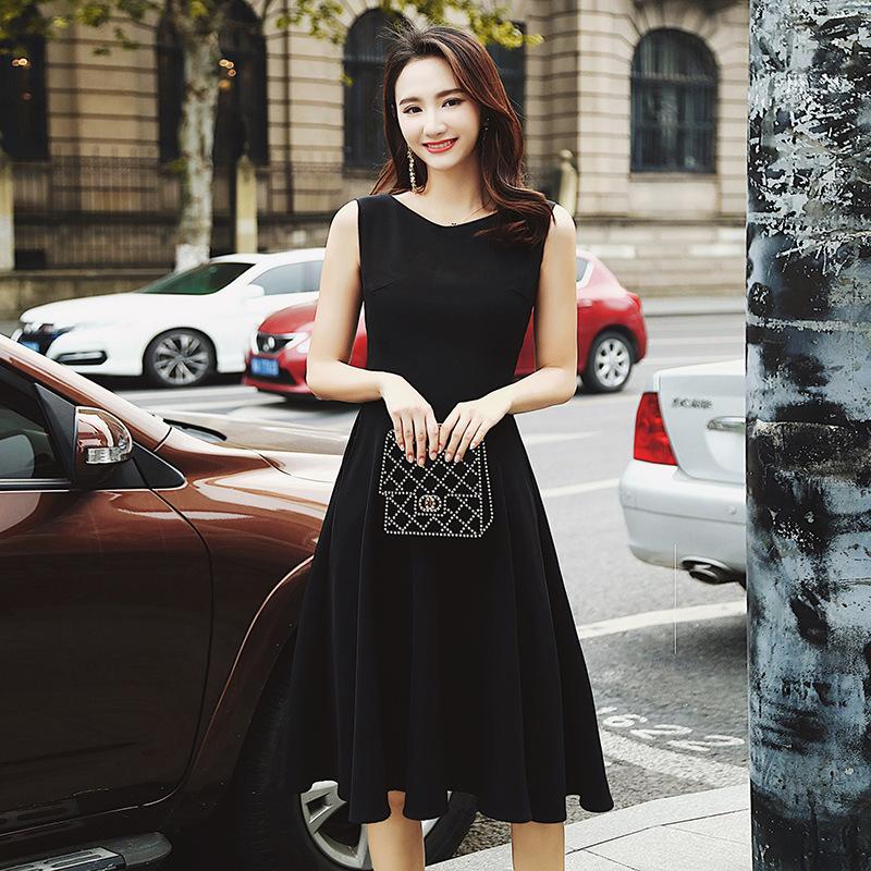 实拍2018夏季新款女装复古赫本风中长款大摆A字连衣裙黑色晚礼服