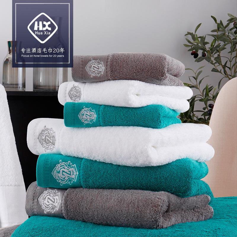 厂家直销新款星级酒店全棉毛巾三件套公司礼品个性浴巾可绣LOGO