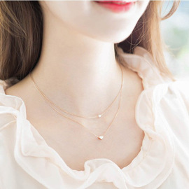 Fashion necklaces brushed love / pearls double-layer very thin women's short and simple set of chains