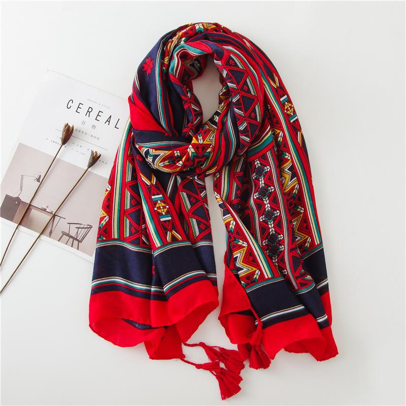 Sun shawl women summer national style cotton and linen silk scarf printing tassel tulle travel beach towel sunshade scarf NHGD199194