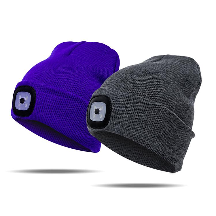 欧美热销纽扣电池款带灯针织帽子 带LED灯帽 发光led针织帽