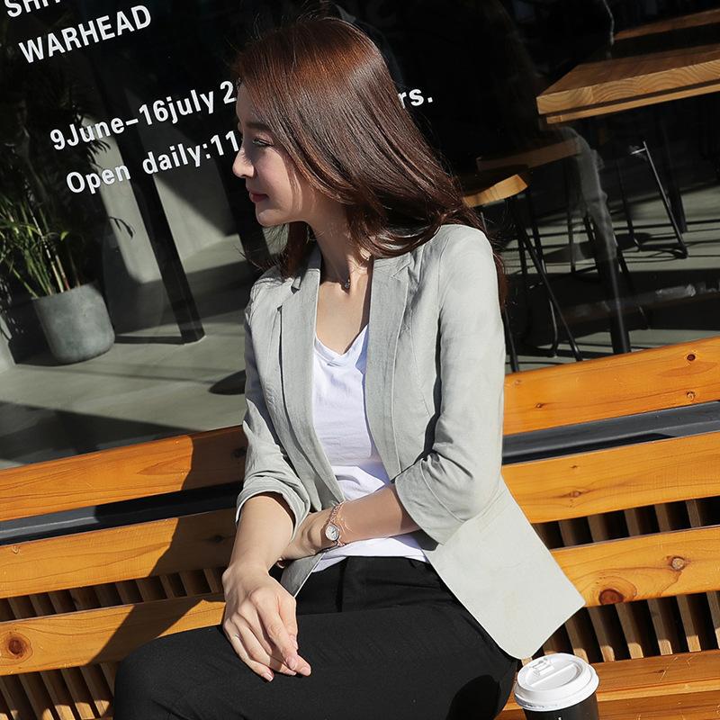 2019春季新款棉麻女装韩版休闲西服女上衣小西装修身显瘦外套1801
