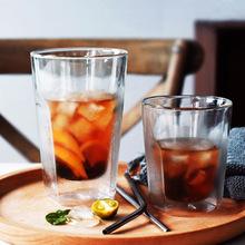 雙層方形玻璃杯大號耐熱牛奶果汁杯隔熱防燙茶水杯冷飲啤酒杯