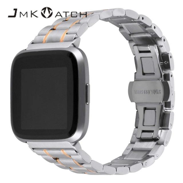 热卖跨境 智能手表带批发 fitbit versa不锈钢蝴蝶扣实心表带批发
