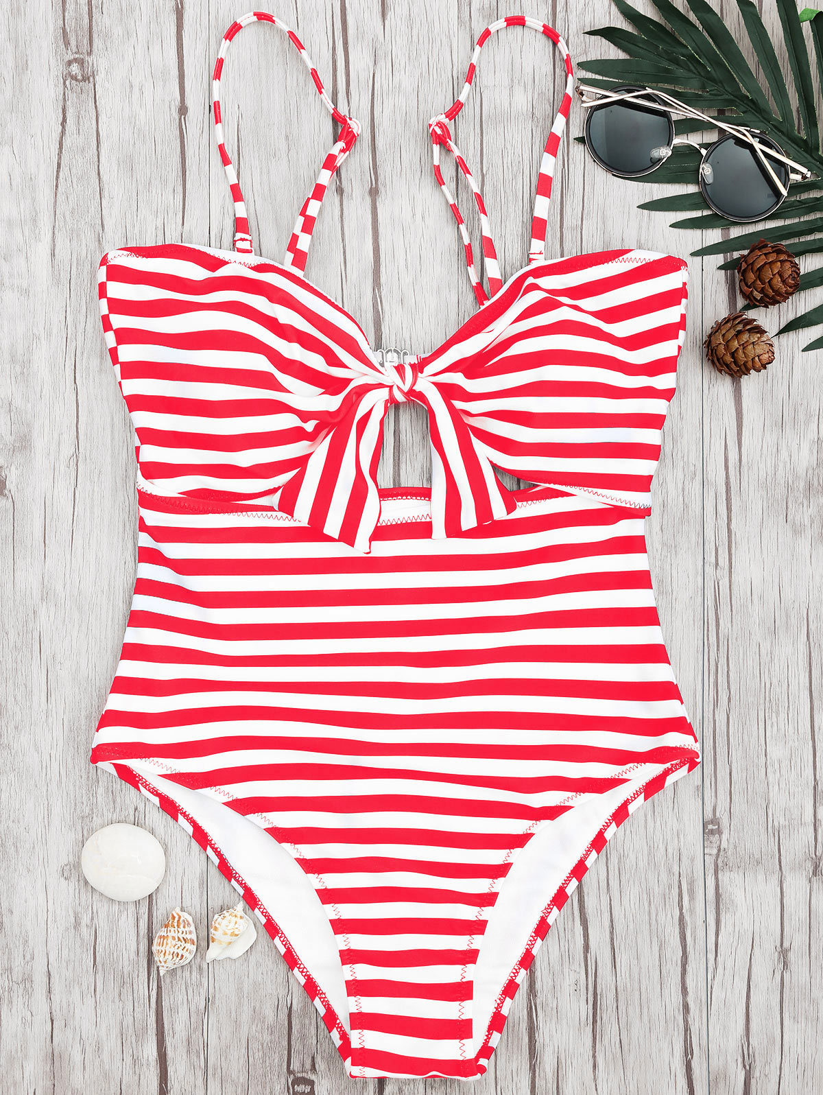 Polyester Fashion  Bikini  (Bow black and white strip -S)  Swimwear NHHL1111-Bow-black-and-white-strip-S