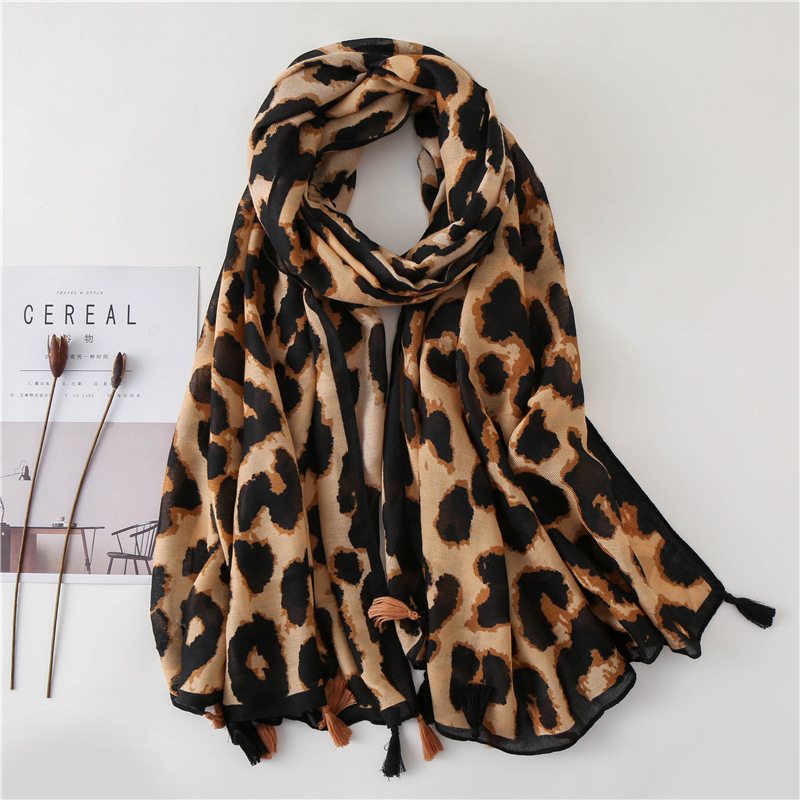 Leopard-print shawl dual-use long new cotton and linen scarf NHGD171739
