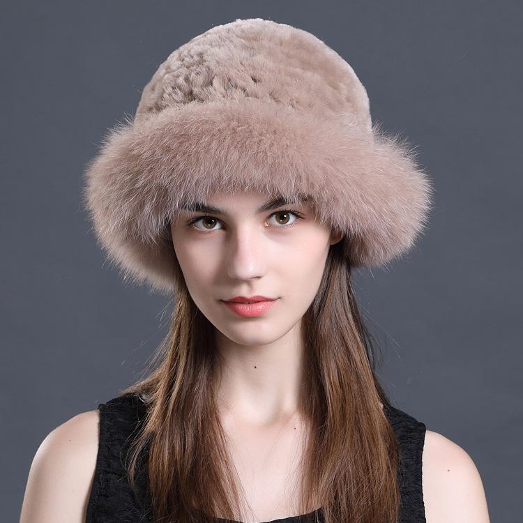 韩版时尚帽子女冬季獭兔毛编织狐狸毛盆帽礼帽冬天保暖皮草帽子