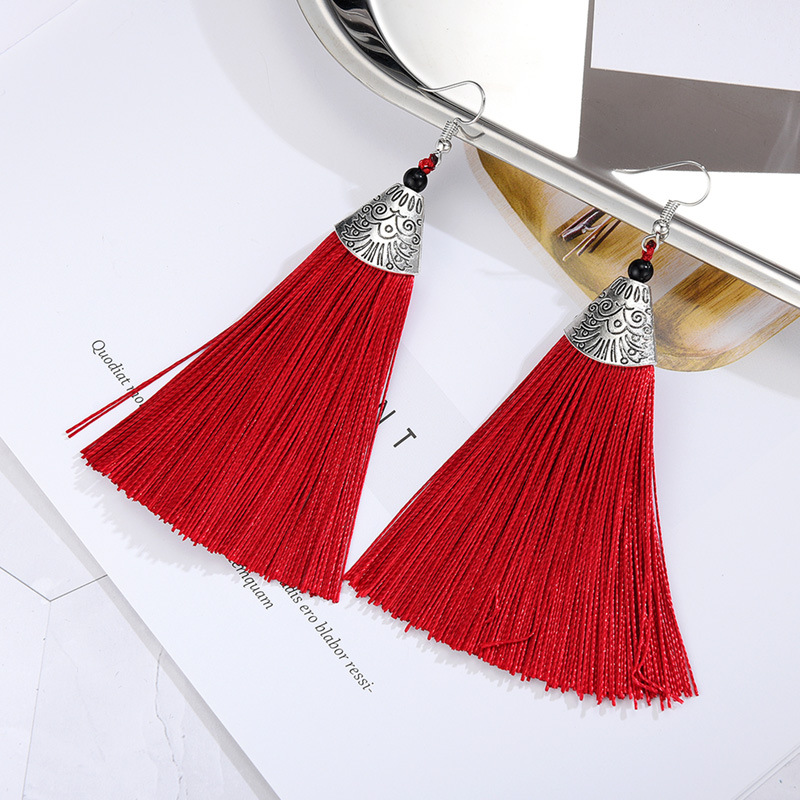 Alloy Bohemia Tassel earring  (61189528 red) NHXS1847-61189528-red