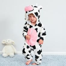 MICHLEY 秋冬保暖法兰绒宝宝连体衣 奶牛动物造型爬服一件代发