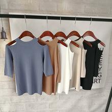 2019春夏新款女裝圓領漏肩中袖韓版修身純色甜美針織衫一件代發
