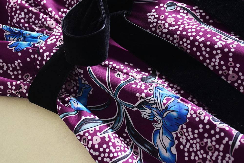 0303-02 V領短袖荷葉邊中長款印花連衣裙SMLXL碼3