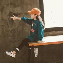 童装女童韩版套装秋季新品字母印花宽松卫衣两件套休闲洋气娃娃装